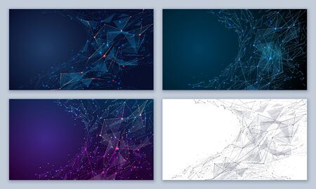 Set of abstract futuristic backgrounds from lines, dots, shapes and glowing particles with plexus effect isolated in blue and white. Vector mesh looks like starry sky. Polygonal space color wireframe Ilustracja