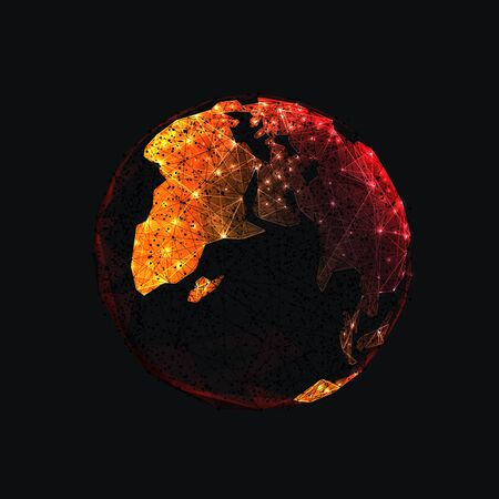 Digital low poly Earth isolated in black background. Orange continents look like fire. Planet covered by virus COVID-19. Pandemic or epidemic concept. Abstract vector illustration with lines and dots