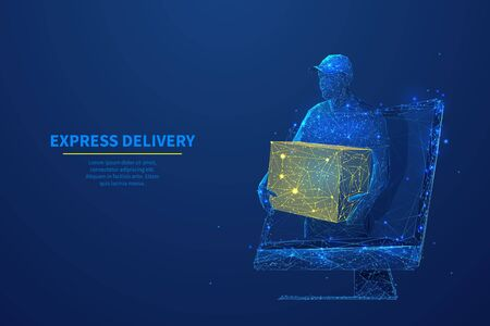 Delivery man with box in his hands on computer screen. Abstract low poly courier and monitor in dark blue. Express delivery, online shopping, order tracking or delivery app concept with lines and dots