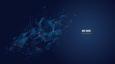 Vector abstract futuristic image of artificial intelligence connectivity. Low poly mesh looks like stars or space. AI technology, network, big data analysis concept with lines, dots and blue particles Ilustracja