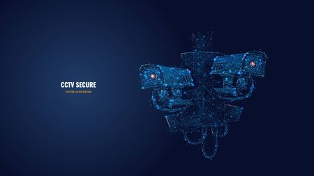 Abstract 3d illustration of two CCTV security cameras. Surveillance technology, safety, smart home or traffic monitoring concept in blue. Low poly vector image with dots, lines and glowing particles