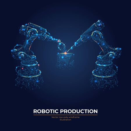 Robotic arm and robotic machine tool for smart technology manufacturing process in dark blue background. Abstract vector illustration. Industrial technology concept. Low poly wireframe.