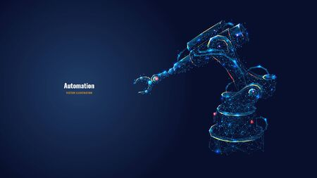 Robotic arm in dark blue background. Automation concept. Polygonal wireframe with lines and dots. Abstract digital vector illustration.