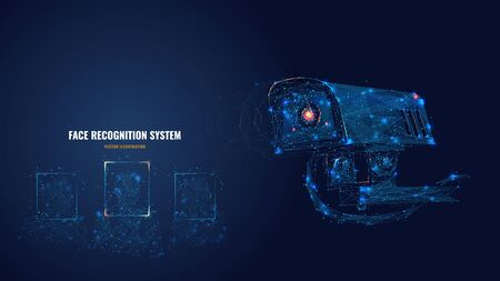 Abstract 3d camera scanning faces. Polygonal face recognition system, biometric scanning, technologies based on neural networks concept. Artificial intelligence vector illustration with connected dots