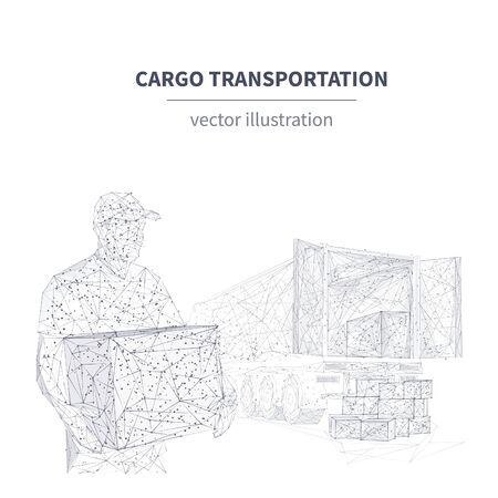 3d delivery man with box standing in front of cargo truck. Shipping cargo delivery, logistics, transportation or business commercial concept. Abstract polygonal vector illustration isolated in white