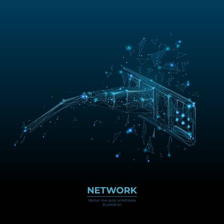 Low poly 3d ethernet cable connected in network switch in dark blue. Internet connection, global network information technology concept. Abstract vector illustration with lines, dots and particles