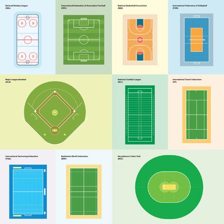 nba: World sport playgrounds (vector sport fields)