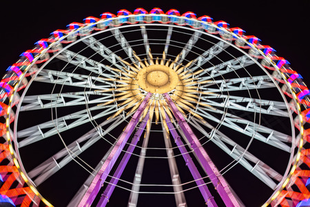 Ferris wheel at night with beautiful lights Stock Photo