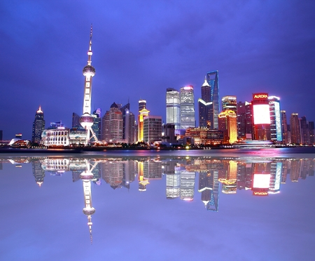 oriental pearl tower: The night view of Oriental Pearl Tower at Shanghai china