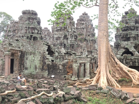 angkor thom: The Woman drawing  at Angkor thom   in Siem Reap Cambodia