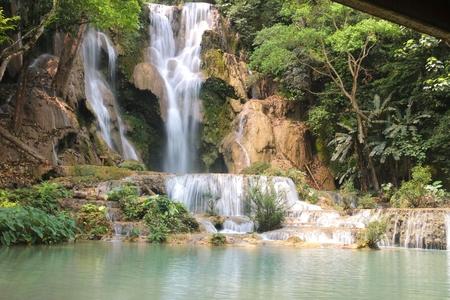 tat: Tat Kuang Si Waterfalls is a three tier waterfall of Luang Prabang ,Laos