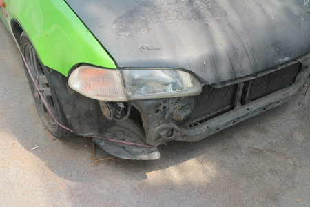 fender bender: The car accident on a street