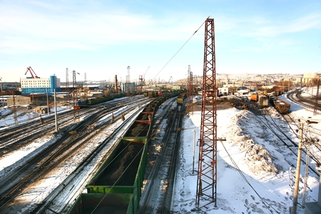 Murmansk Railway Station in Russia may be the northernmost railway station Stock Photo