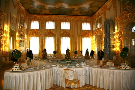The interior style of the pavilion in the Catherine Palace at Saint Petersburg, Russia
