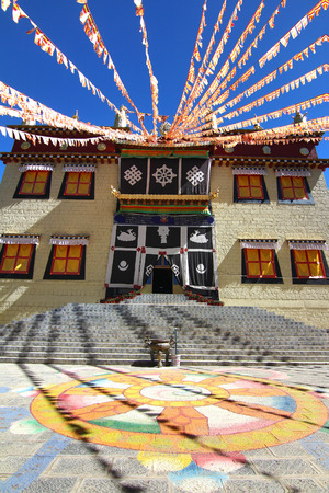 Songzanlin Temple also known as the Ganden Sumtseling Monastery, is a Tibetan Buddhist monastery in Zhongdian city( Shangri-La), Yunnan province China and is closely Potala Palace in Lhasa Stock Photo