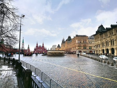 spasskaya: Moscow russia - March 19 ,2017 : Red Square is often considered the central square of Moscow, Russia