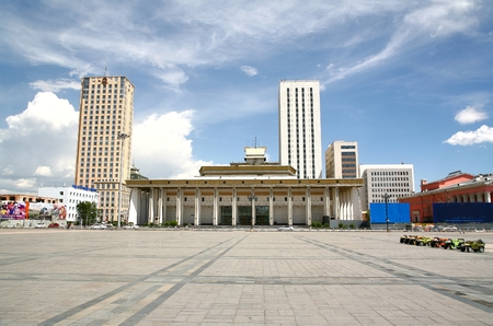 Ulaanbaatar mongolia  july, 3  2016 :  Sukhbaatar square is the central square of Mongolias capital Ulaanbaatar
