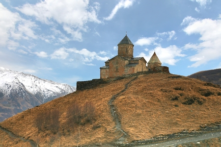 Gergeti trinity church at an elevation of 2170 meters, under Mount Kazbegi in Georgia