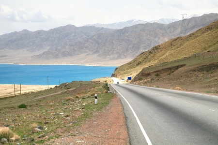 The Orto-Tokoy Water Reservoir on the way to Kochkor and Naryn City, Kyrgyzstan