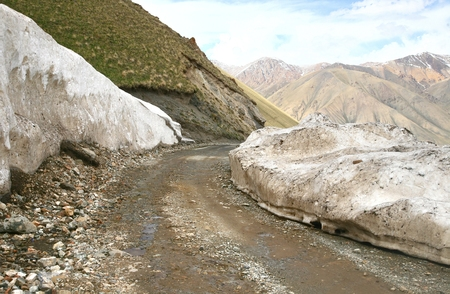 beautiful scenic from Bishkek  to Naryn with the Tian Shan mountains of Kyrgyzstan
