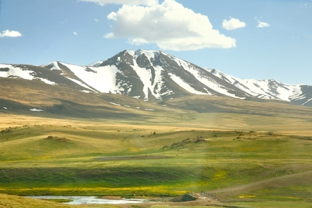 route of  beautiful scenic from Bishkek  to Song kul lake ,  Naryn with the Tian Shan mountains of Kyrgyzstan