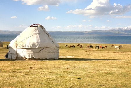 The ger camp in a large meadow at Song kul lake ,  Naryn of Kyrgyzstan