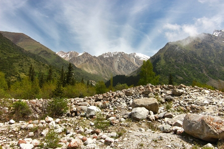 The Ala Archa National Park in the Tian Shan mountains of Bishkek  Kyrgyzstan Banque d'images