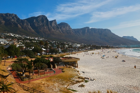 Camps Bay is the popular tourist destination in Cape Town, South Africa Stock Photo
