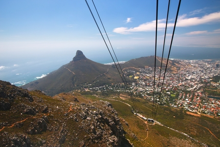 Table Mountain  is a landmark overlooking the city of Cape Town in South Africa