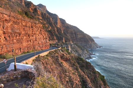 Chapmans Peak Drive on the Atlantic Coast between Hout Bay and Noordhoek is a beautiful views in the world at  Cape Town, South Africa