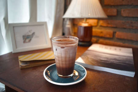 iced chocolate with ice in a glass Standard-Bild