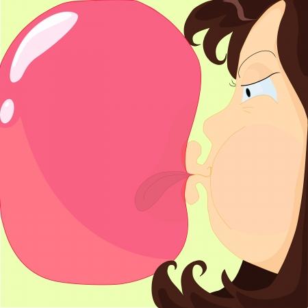 inflar: una ni�a de intentar hacer estallar una burbuja de chicle y con la lengua pegada en �l Vectores
