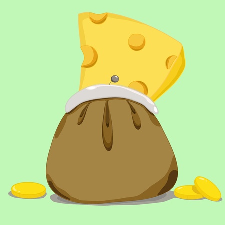 freebie: cheese in purse with coins near it