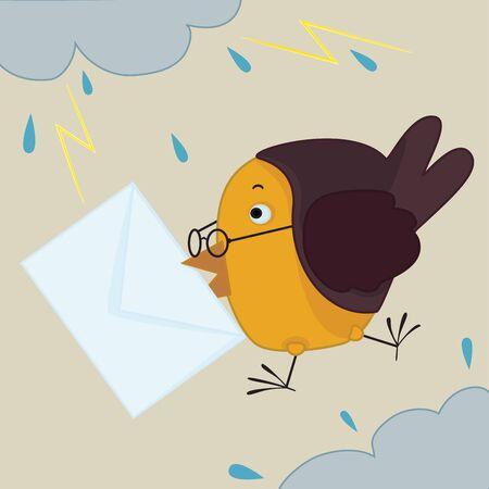 bird with envelope in it s beak flying among clouds and lightnings Vektoros illusztráció