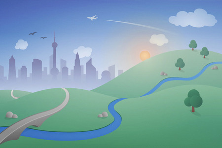 utopia: Vector Landscape with City