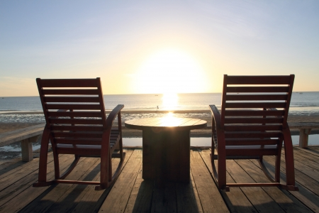 Rocking Chair at the terrace, Sunrise photo