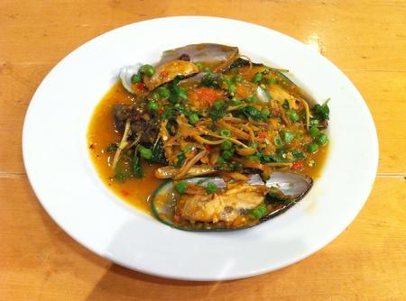 sea food: Mussel sea food chilli pepper Stock Photo