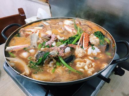 seafood soup: sour seafood soup Stock Photo