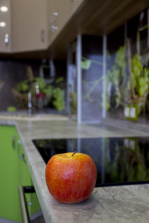 renovation of own kitchen in green style Stok Fotoğraf