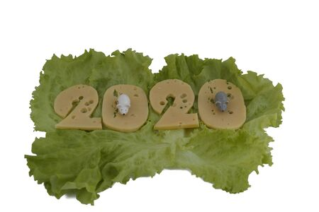 new year 2020 figures from cheese. the cheese lies on the lettuce leaves, isolated on a white background.