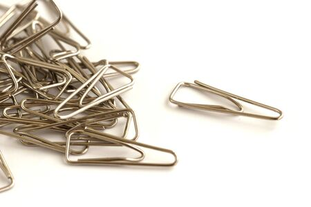 the paper clips isolated on white background.