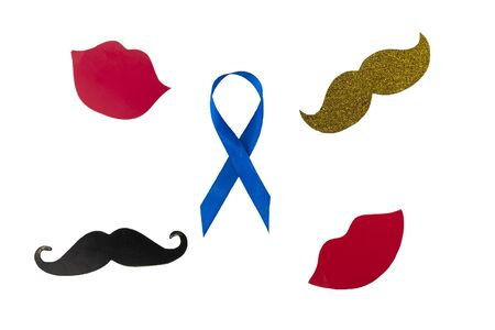 Prostate Cancer Awareness, Blue Ribbon with mustache. Men Healthcare and World cancer day concept