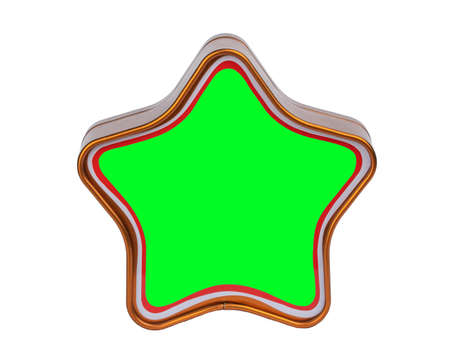 metal box in the shape of a star. holiday packaging for Christmas with free space for text.