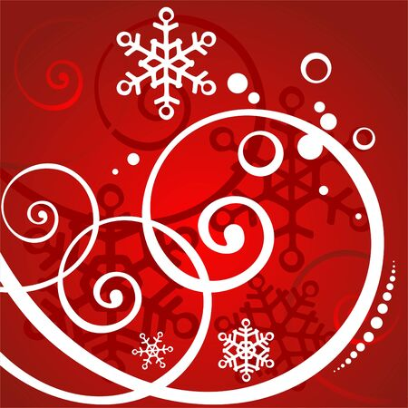 simplify: Red winter background with white curls and snowflakes.