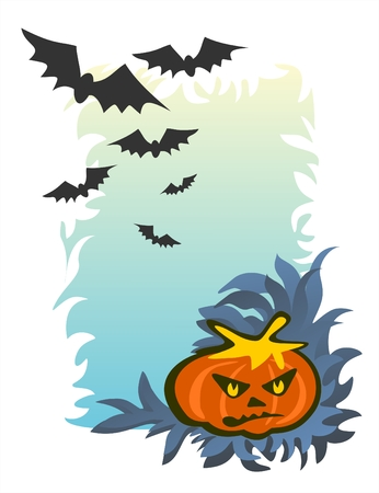 Angry pumpkin and bats on a background of the evening autumn sky. Vector