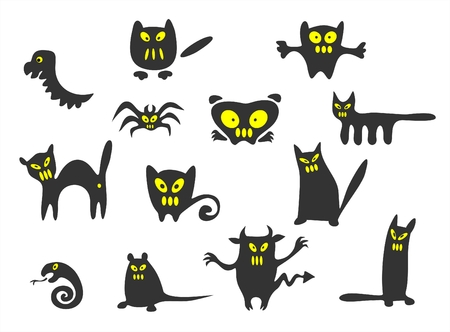 Thirteen black Halloween monsters on a white background. Illustration