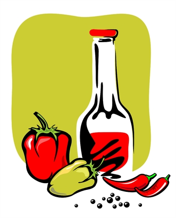 The stylized  image of ketchup and three kinds of pepper on a green background. Illustration