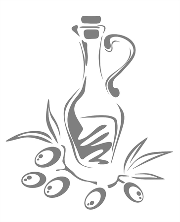 The stylized black-and-white bottle with an olive oil and olives. Illustration