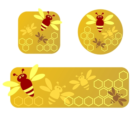 Three stylized honey frames with honeycomb and bees. Vector