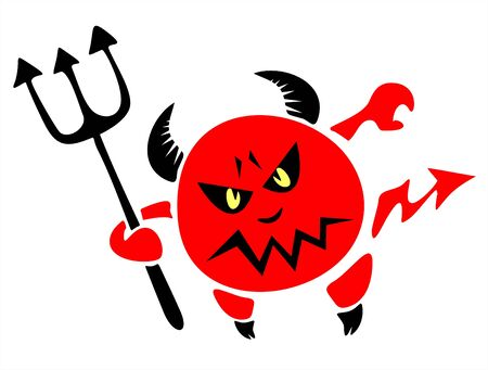 The stylized figure of a red spiteful devil with a trident on a white background. Vector